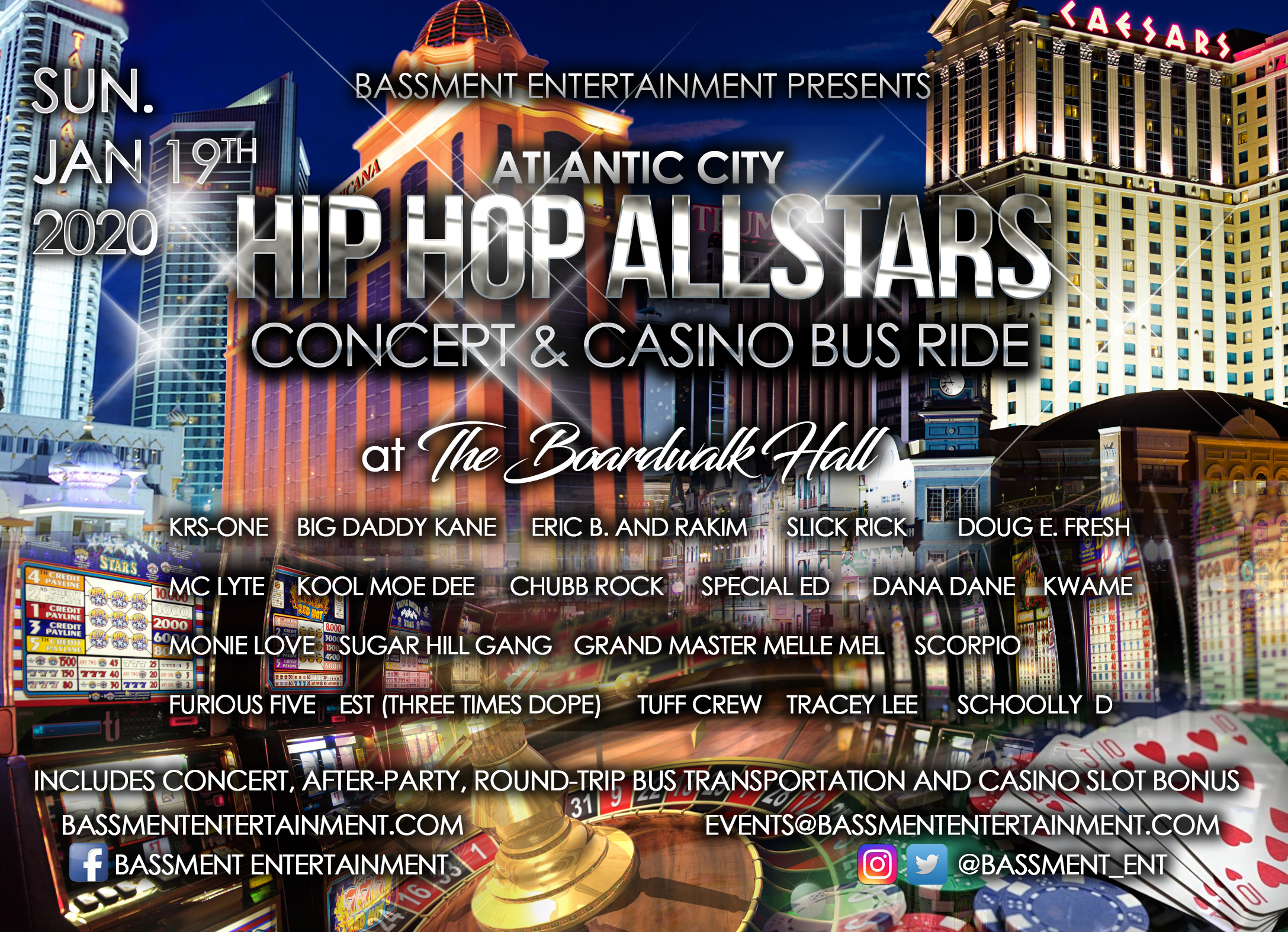 Atlantic City Hip-Hop All-Stars Concert and Casino Bus Ride